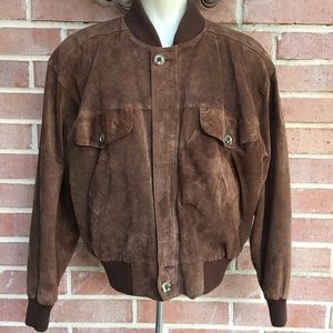 Vtg LIZWEAR Brown Leather Suede Bomber Jac…